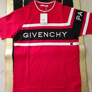 GIVENCHY MENS RED COTTON BASIC TEE